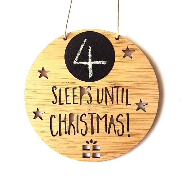 Sleeps until Christmas Countdown Sign Round